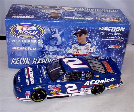 2001 KEVIN HARVICK #2 AC DELCO BUSCH SERIES CHAMP 1/24 DIECAST BY ACTION FREE SH