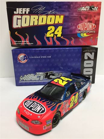 2002 JEFF GORDON #24 DUPONT FLAMES 1/24 WITH BOX & SLEEVE FREE SHIP